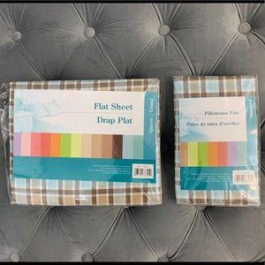 Queen Flat Sheet & Standard Pillowcases